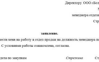Заявление о переводе на постоянную работу образец